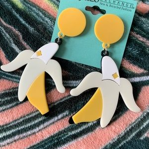 BANANA Peel Fruit  Earrings NEW